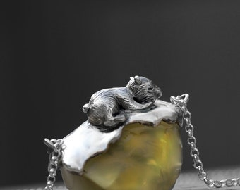 Perimade® Handmade Gopher Pendant in Sterling Silver with Yellow Crystal