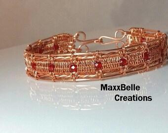 Athena Wire Weave Red Crystal Bracelet