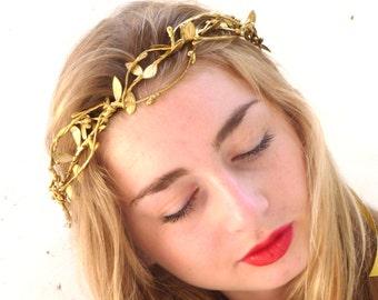 Gold leaf Crown, Gold Headband, Woodland Headpiece,  Greek Goddess, Flower crown, Hair Wreath
