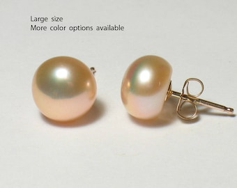 Large Pearl Stud Earrings Gold Filled, Freshwater Pearl, Studs, Post Earring, 8-9mm, White, Black, Gray, Lavender, Pink, Bridesmaid Gifts