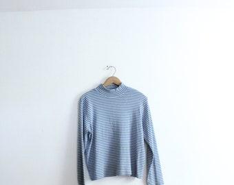Blue Striped 90s Turtleneck Shirt