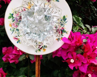 Frenchie • Yard Art • Glass Garden Flower • Repurposed Floral China Garden Flower Decor • Upcycled Plate Fower