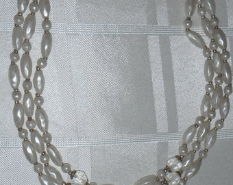 Three stranded beaded and crystal necklace vintage 1950s