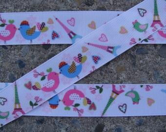 "3 yards French Birds Printed Ribbon French Tower Ribbon 7/8"""