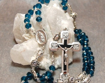 SALE ON SALE Blue Aqua Rosary Stations of the Cross Silver cable by HeartFeltRosaries