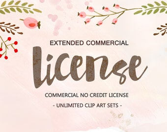 Extended Commercial Use License - Commercial No Credit License - Unlimited Clip Art Sets