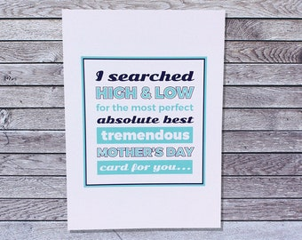 Funny Mother's Day Card / Mothers Day Card