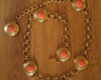 60s goldtone and faux coral disc metal waist / hip belt