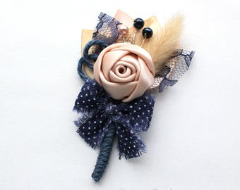 Blush Navy Gold Rustic Rosette Boutonniere/ 12available/ Country Wedding Lapel Pin/ Handmade Wedding Accessory