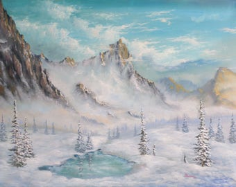 Original peinture 60 x 80 cm huile sur toile «montagne ''