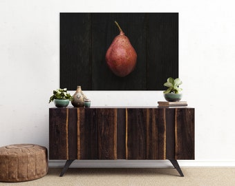 red pear v. one // food photography print // kitchen decor // dining room // canvas art // canvas print // rustic farmhouse wall art