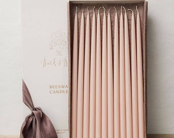 """Beeswax Taper Candles - Any Custom Color Candles - Gift Box: 12 x 460 mm (18,1"""") Taper Wax Candles Pantone Colored 100% Beeswax Organic"""