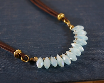 """Light Blue Crystal Briolette 14"""" Necklace/Dark Brown Leather/Gold Hematite/Short Statement Necklace/Boho Jewelry/Gift for Her/Short Necklace"""