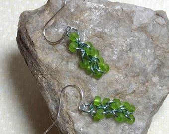 Green Aqua Earrings Aqua Dangle Earrings Green Drop Earrings Teal Ring Earrings Green Ring Earrings Beaded Chain Dangles Chain Drop Earring