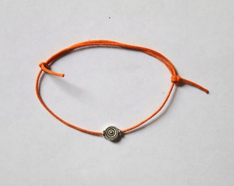 LIMITED silver charm on waxed cotton cord adjustable friendship bracelet