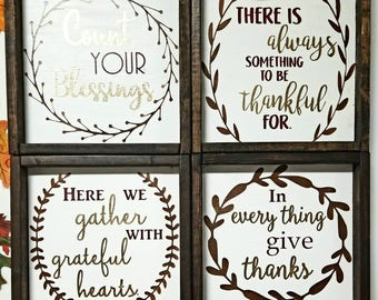 Thanksgiving Holiday Inspired Painted and Framed Home Decor Thankful Grateful Blessed Wooden Signs