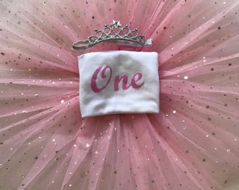 Baby girl full birthday outfit tutu crown tiara headband any age glitter one 1st two 2 princess pink top t-shirt vest cake smash