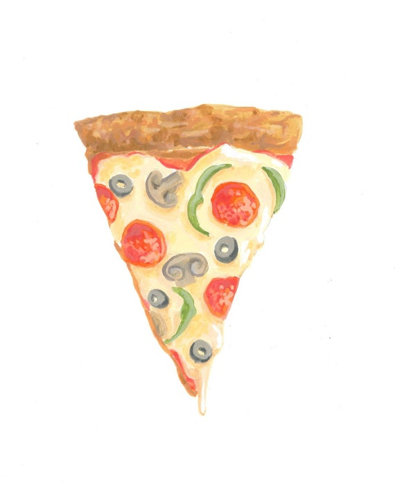Slice of Heaven, Pizza Painting, Cheesy Pizza, Cute Pizza, Dorm Decor, Art Illustration Print 5x7