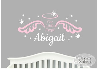 Our Little Angel, Personalized Girl's Name with Angel Wings, Halo & Stars Wall Decal Set NK-130