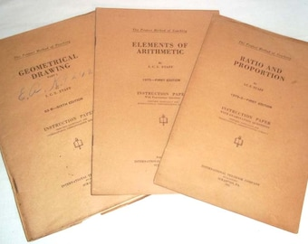 Three International Correspondence Schools ICS Instruction Booklets From 1920's All on Math Subjects