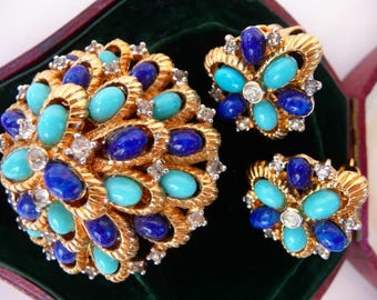 vintage Jomaz brooch pin clip earrings set | faux turquoise lapis | rare vintage collectible | designer signed Joseph Mazer | 1950s 1960s