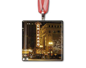 Chicago Theater at Night - Handmade Glass Photo Ornament