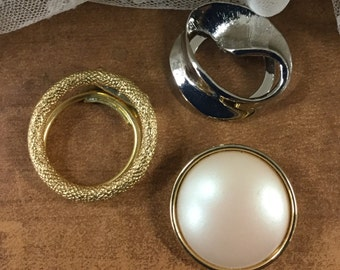 Three Lot Scarf Clips Silver Tone Gold Tone Faux Pearl Signed Germany Tona Round Circular Scarf Jewelry Swirled Brushed Finish Feminine