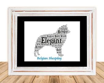 Belgian Sheepdog,Belgian Sheepdog Art,Belgian Sheepdog Print,Gifts Under 25, Pet Gift, Print, Dog Art, Pet Memorial, Custom Dog