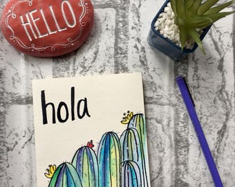 Hola! Colorful cactus, blank card, any occasion card, birthday card, thinking of you card, thank you card, home decor, interior design, 5x7""