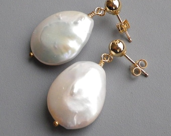 Large White Pearl Dangle Gold Post Earrings