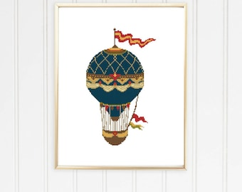 Hot air balloon cross stitch/vintage style/boho cross stitch/balloon cross stitch/hot air balloons/air balloon pattern/#10-001