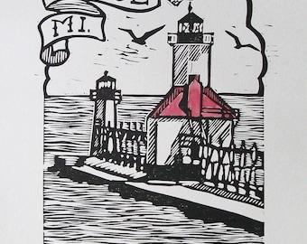 ST. JOE, MI. original handcolored block print