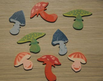 "set of 8 champi theme ""happy"" painted wooden embellishments"