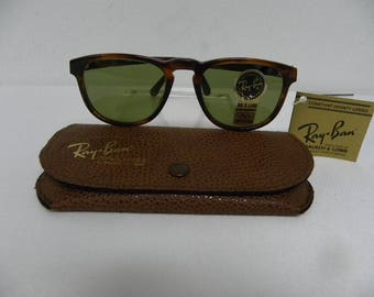 New Vintage B&L Ray Ban Gatsby Style 2 Square Mock Tortoise RB3 Green W0935   Sunglasses NOS
