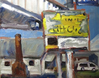 Original Oil Painting of Old Gas Station by Cheryl Ratcliff