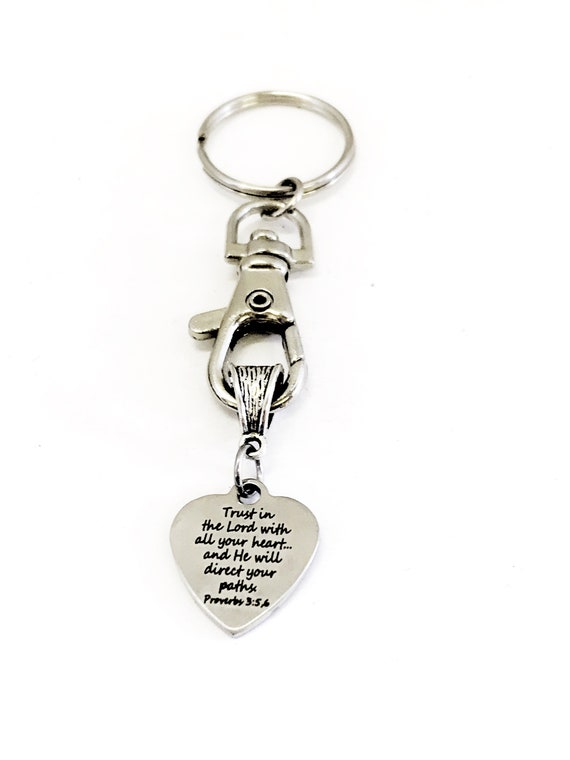 Christian Keychain, Trust In The Lord Keychain, He Will Direct Your Paths, Prov 3 5 and 6, Christian Gifts, Christian Charm, Keychain Gift