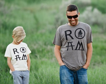 Matching Shirts Father Son, Adventure Shirt, Outdoor Gift for Men, Father Daughter Shirts, ROAM Camping Shirt Set, Dad and Toddler Shirts