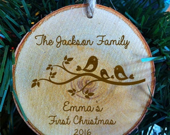 Baby's First Christmas Family Personalized Wood Baby's First Christmas Ornament