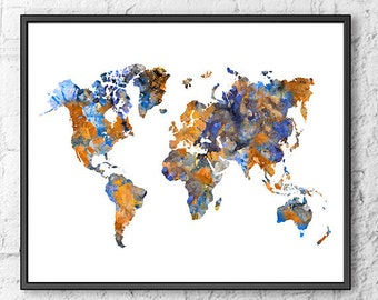 Watercolor map, world map, watercolor print, print on canvas, map poster, map print, blue orange decor, contemporary art - S11