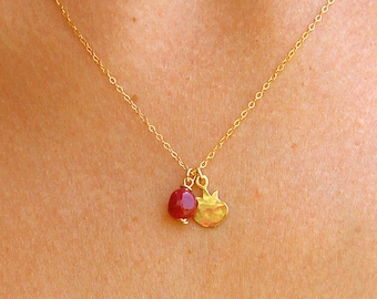 Pomegranate necklace, Rosh Hashanah gift gold necklace, pomegranate pendant, ruby necklace, charm pendant, everyday necklace