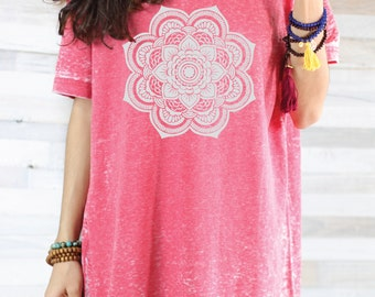 MANDALA SHIRT - Red Acid Wash Graphic Tee SHirt - Women's Graphic Tee - Flowy Yoga Shirt - Womens Tops