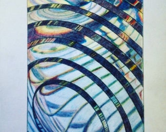 Lighthouse Lens, Unframed Colored Pencil Drawing, A3 size