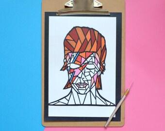 Bowie print , bowie art , david bowie print , david bowie art , bowie artwork , bowie fan art , gift for bowie fan , geometric portrait