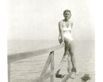 "Vintage Snapshot ""Swimsuit Model"" White Bathing Suit Dock Pier 1940's Found Vernacular Photo"