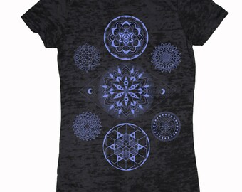 Women's 7 CHAKRAS Mandala Shirt Colab Design with Sacred Geometry Tattoo Artist Corey Divine T-shirt
