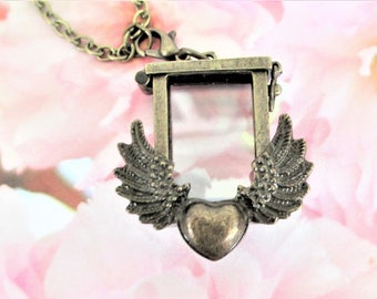 Heart With Wings Necklace, Photo Frame Necklace, Heart Frame Necklace, Heart With Wings Frame Necklace, Photo Frame Pendant