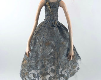 Figurative Sculpture clay wood painted folk art doll reluctant prom queen norma jean