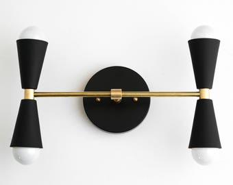 Mid century sconce etsy wall sconce hallway lighting mid century sconces brass black wall fixture vanity light bathroom lamps modern cone light aloadofball