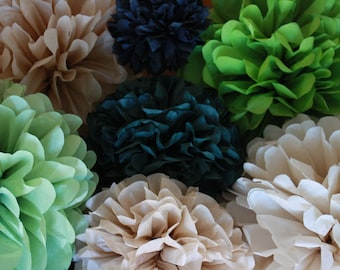 10 Tissue Pom Poms - Your Color Choice- SALE - Green and neutral Decorations - Camo party - Army guy party
