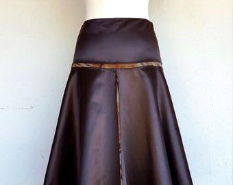 CLASS ROBERTO CAVALLI Made in Italy skirt years 90 in dark brown taffeta iridescent Tg 42
